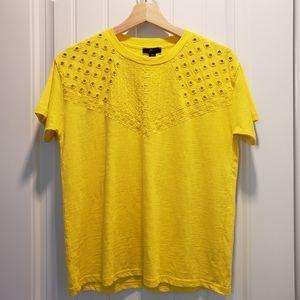 J CREW Eyelet Embroidered Tee